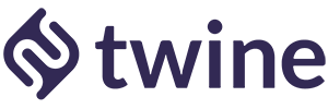 Large twine logo text purple email